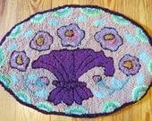 Prim Flowers Hooked Rug