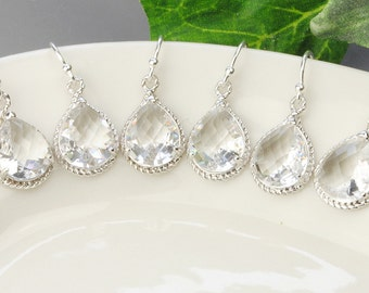 Crystal Teardrop Earrings - SET OF 6 - Clear Earrings - Bridesmaids Earrings - Wedding Jewelry Set - Bridesmaids Jewelry - Silver Earrings