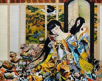 """Futakuchi-Onna - ORIGINAL 36""""x48"""" painting"""