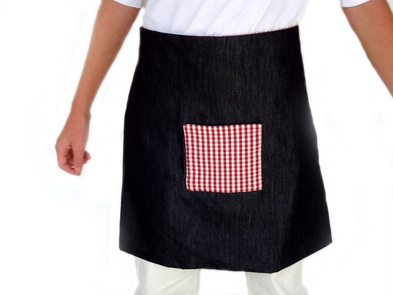 Reversible apron  in denim and vichy cotton fabric on the  pocket and other side