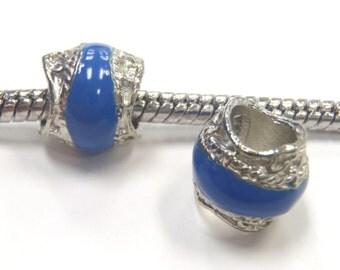 3 Beads - Blue Enamel Scroll Stripe Silver European Charm Bead E1098