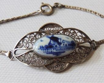 Dutch Silver Bracelet with Blue Delft