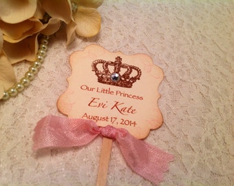 Little Princess Baby Shower Cupcake Toppers-Princess Crown Cupcake Picks Personalized Toppers