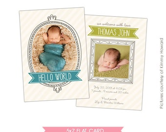INSTANT DOWNLOAD - Birth announcement template - Whimsy boy - E425