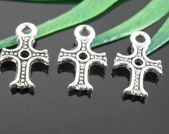Cross Charm 10 Charms Antique Silver Tone 14 x 9 mm  - ts413