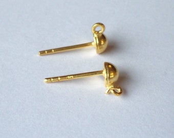 10  Gold Plated Studs 8 mm half ball with Dangle Loop ew064