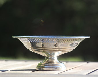 Vintage Pierced Sterling Silver Bowl, Wedding Cake Topper, Bon Bon Dish, Highly Detailed Bonbonnière