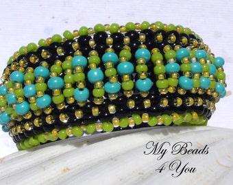 Peyote Cuff Bracelet, Beaded Bracelet, Embellished Beaded Bracelet, Seed Bead Bracelet, Beadwoven Bracelet, Beadwork Tutorial