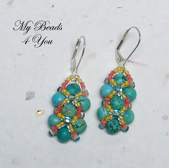Beaded Earrings, Right Angle Weave Earrings, Beadwoven Earrings, Seed Bead Earrings, Jewelry Set, Jewelry Gift Set, Beadwork Earrings