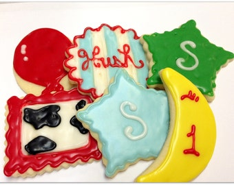 Goodnight Moon Cookies Birthday Party Sugar Cookies First Birthday  Decorated Cookie Favors