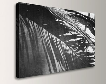 "Coastal Beach Decor - Black & White Photography - Canvas Print Gallery Wrap - Photo Canvas Wall Art - ""Cabana Dream """