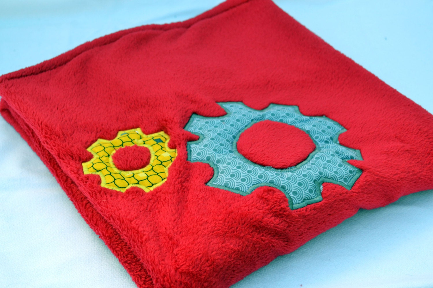 Red space robot baby blanket fleece baby blanket baby for Space fleece fabric