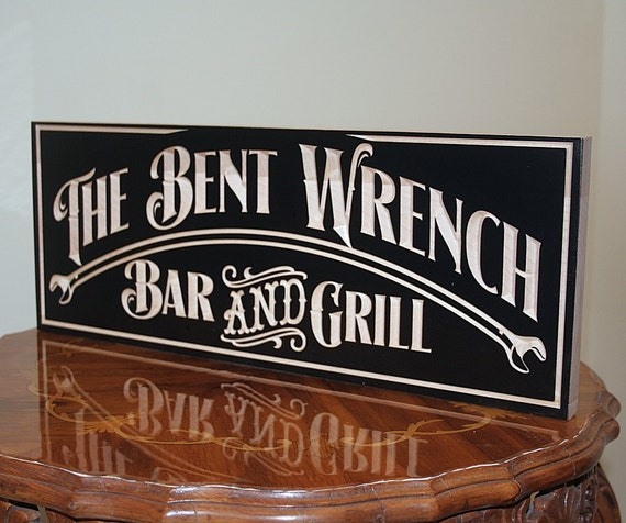 Personalized Home Bar Sign, Carved Wooden Signs, Benchmark Custom Signs Maple BR