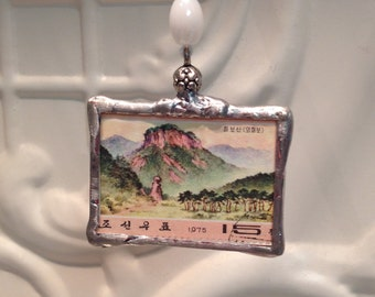 Art Stamp Pendant - Two- sided hand soldered - Perfect Gift