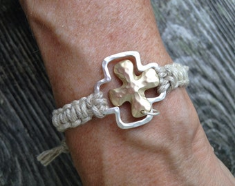 Silver and gold charm bracelet