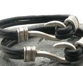FREE SHIPPING Anniversary Gift,Leather bracelet. Black leather multi strand bracelet with  silver plated hook clasp and spacer