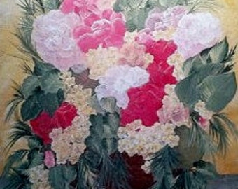"""Painting """"Wicker Basket Florals"""" 16x20"""""""