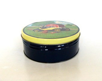 Round Cookie Tin, Country Setting Red Barn Antique Car Teddy Bear Tin Canister