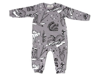 Animal Long Sleeve Romper in White and Black on Grey