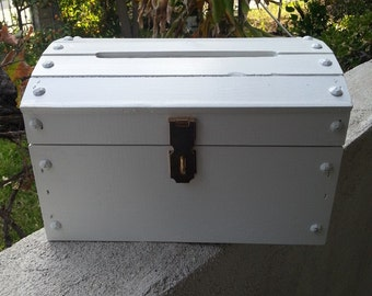 Small Wooden Wedding Treasure Chest Card Box with Card Slot Painted White
