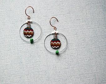 SALE Chevron Hoop Earrings / Turquoise, Red, Mustard / Zig Zag / Shrink Plastic Jewelry / Southwestern Style / For Her / Wearable Art