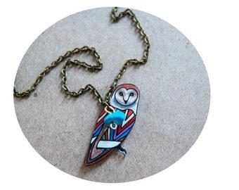 Barn Owl Necklace / Chevron Necklace / Chevron Animal / Zig Zag  / Owl / Bird / Rainbow / Shrink Plastic Jewelry