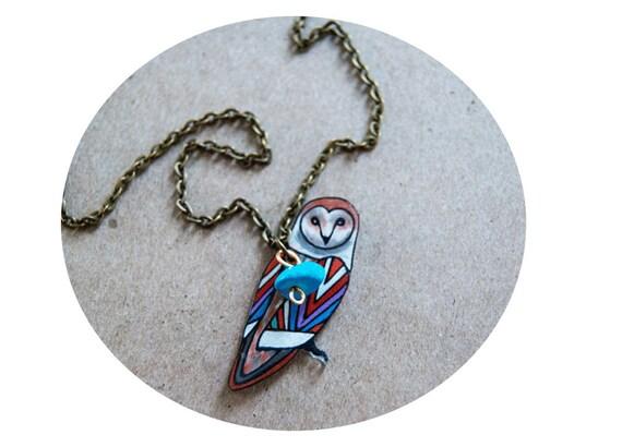 SALE Barn Owl Necklace / Chevron Necklace / Chevron Animal / Zig Zag  / Owl / Bird / Rainbow / Shrink Plastic Jewelry