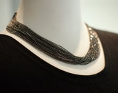 Dark gray color   handmade  necklace. high quality custom jewelry beaded