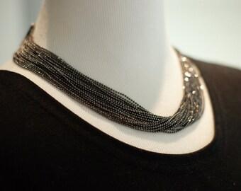 Dark gray color   handmade  necklace. high quality custom jewelry beaded