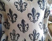 Burlap Pillow Cover, 18''x 18'' Fleur de lis Pillow Cover/Case, French Lily Flower Flange Pillow, Eco Friendly Jute Burlap Pillow Cover.