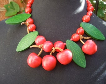 Chunky Wood Cherry Beaded Necklace