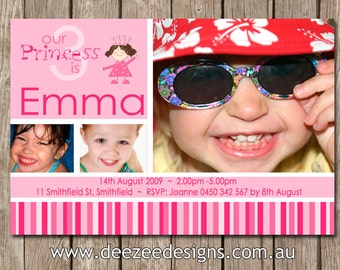 Princess Photo Personalised Birthday Invitations - YOU PRINT