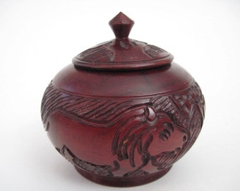 Vintage Carved Wood Lidded Bowl With Rhino and Lion Africa