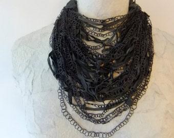 Crocheted Dark Grey Leather & Silk Thread Necklace