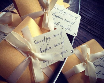 Gold Tears of Joy tissue packets for Wedding ceremony