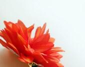 Sale, Orange Flower Hair Clip, Gift for Girl, Chrysanthemum Hair clip, Mum hair clip