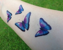 Purple, Pink, Green or Blue Butterfly Temporary Tattoo - Butterfly Tattoo - Temporary Tattoo