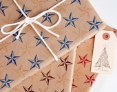 Rustic Star Wrapping Paper - 3 Pack / 12 Sheets