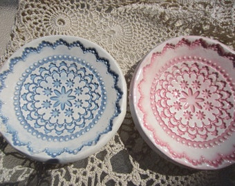 Two Blue and Pink Snowflake Lace Ceramic Bowls