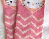Hello Kitty Pink and Tan Gray Chevron Baby Legs / Baby Girl Leg Warmers