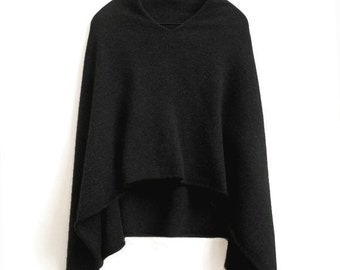 4ply Charcoal grey 100%  Pure Cashmere Poncho