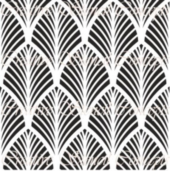 Art Deco Patterns: Palm Leaves Art Deco Decorative Stencil MULTIPLE SIZES