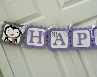 Lavender and Grey Winter Onederland Penguin Happy Birthday Banner, Winter Birthday, Winter Onederland Party, Snowflake Birthday