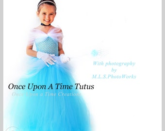 Blue Fairy Tale Princess Tutu Dress - Birthday Outfit, Halloween Costume - Little Girl Size 3 6 9 12 18 Months 2T 3T 4T 5 6 7 8