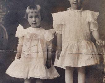 Original Antique RPPC Photograph Pretty Angelic Girls in White Dresses