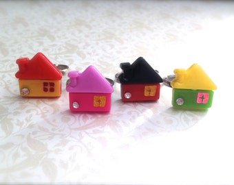 Miniature Colorful House Adjustable Ring. Silver Ring Band. Whimsical Home. Cute Ring. Red Pink Green Yellow. Under 10 Gifts for Her.