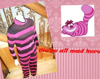 Upcycled Steampunk Clothing, Custom Cheshire Cat Costume, Pink and Black Striped Costume, Alice in Wonderland Allow 2 weeks for Custom Items