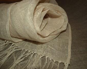 "Natural Linen Scarf Ivory Burlap Gauze Wrap 16""x75"""