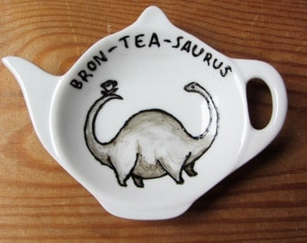 Bron-tea-saurus Tea Bag Tidy - Dinosaur spoon rest