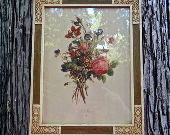 Floral Picture by Trevost, 11 x 14 Picture, Wildflower Art, Framed Art Chicago, Spring Cottage Shabby Chic Picture, Vintage Art, Floral Art